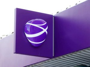 Indoor and outdoor sign for phone company TELIA