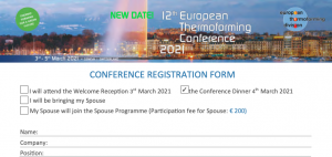 Thermoforming Conference 2021 Registration Form